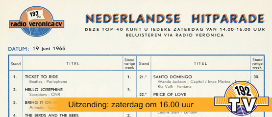 192TV: De Top 40 van 19 juni 1965
