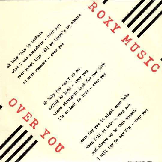 Coverafbeelding Over You - Roxy Music