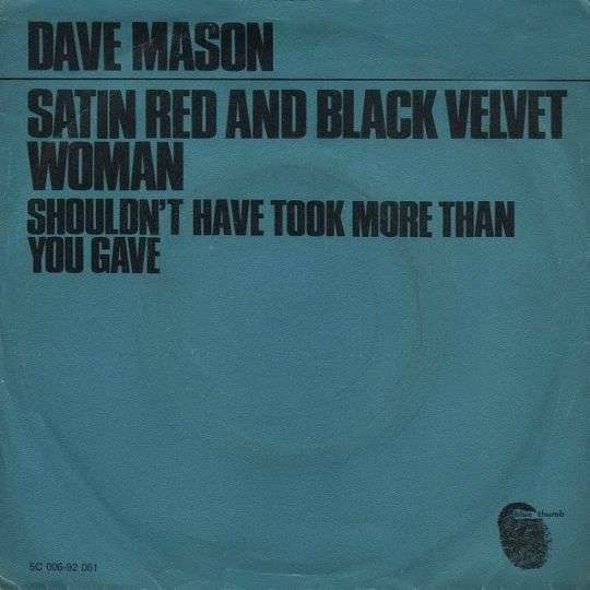 Coverafbeelding Satin Red And Black Velvet Woman - Dave Mason